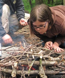 Building a Fire During Outdoor Education Courses