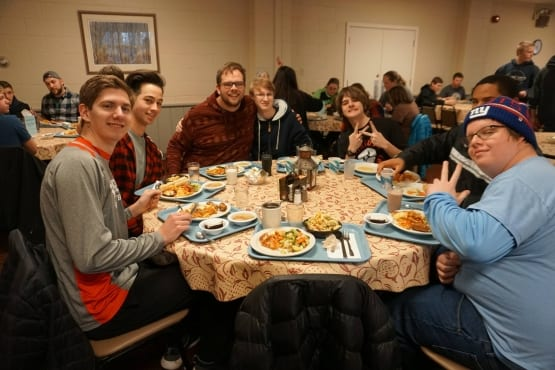 Youth Group Meal in Dining Hall