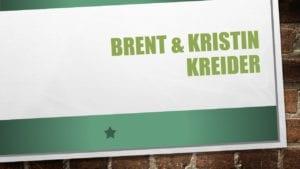Brent & Kristin Kreider, banquet, logo