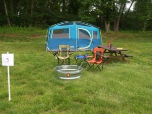 Ballfield Campsite with fire ring and picnic table